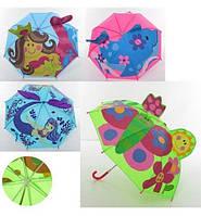 Зонтик детский длина 60см, трость 60см, диам.73см, спица 45см, ткань, ушки, микс вид, в кульке