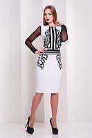 """Женское нарядное платье белое с принтом """"S"""" (20581.1.1)"""