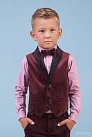 Комплект Жилет Рубашка с бабочкой бордовый бархат тм Zironka размер 110 см
