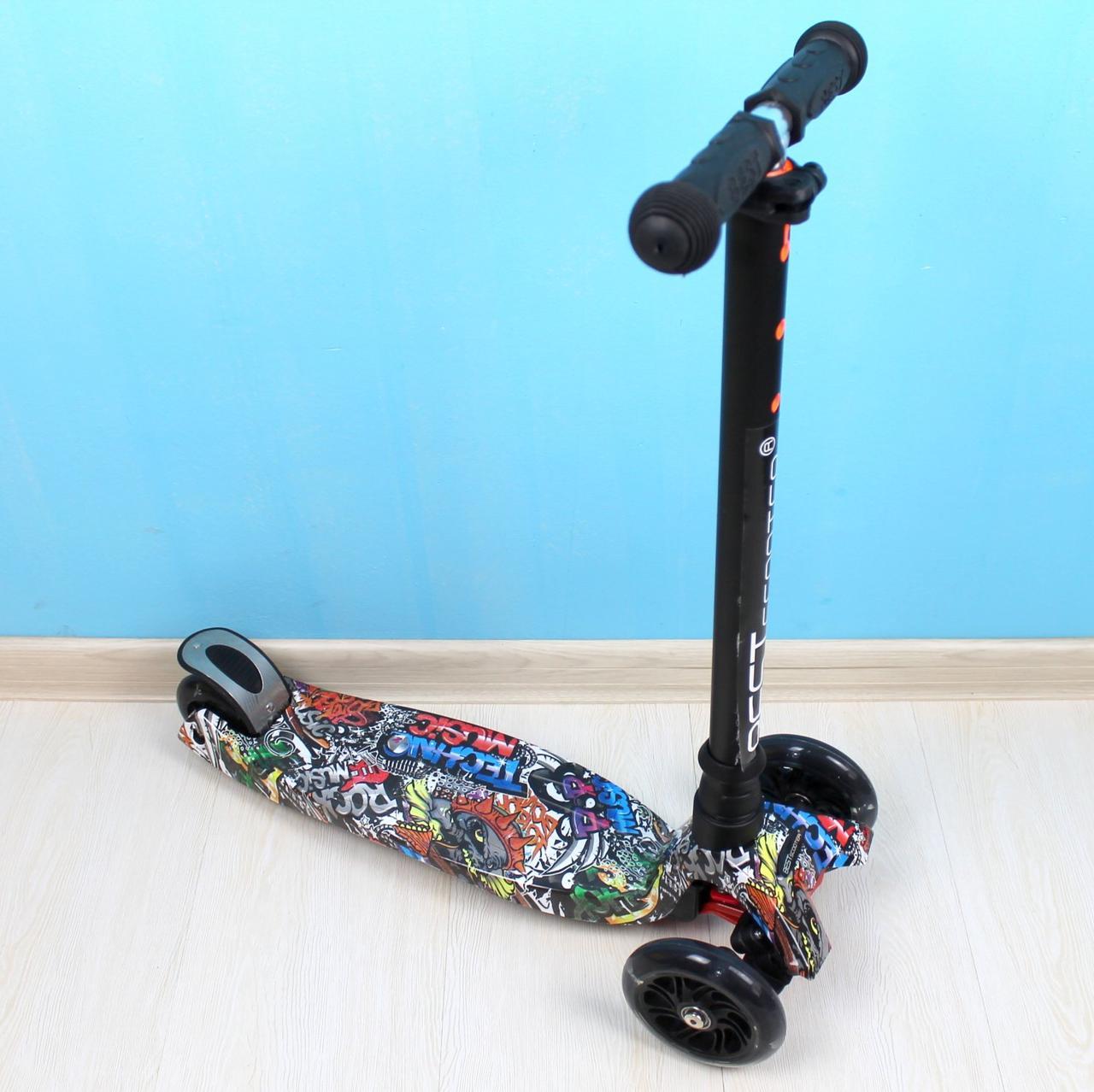 Самокат Best Scooter MAXI для хлопчика чорні колеса