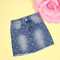 Детская джинсовая юбка для девочки Звезды тм Glo-Story размер 158-164 см
