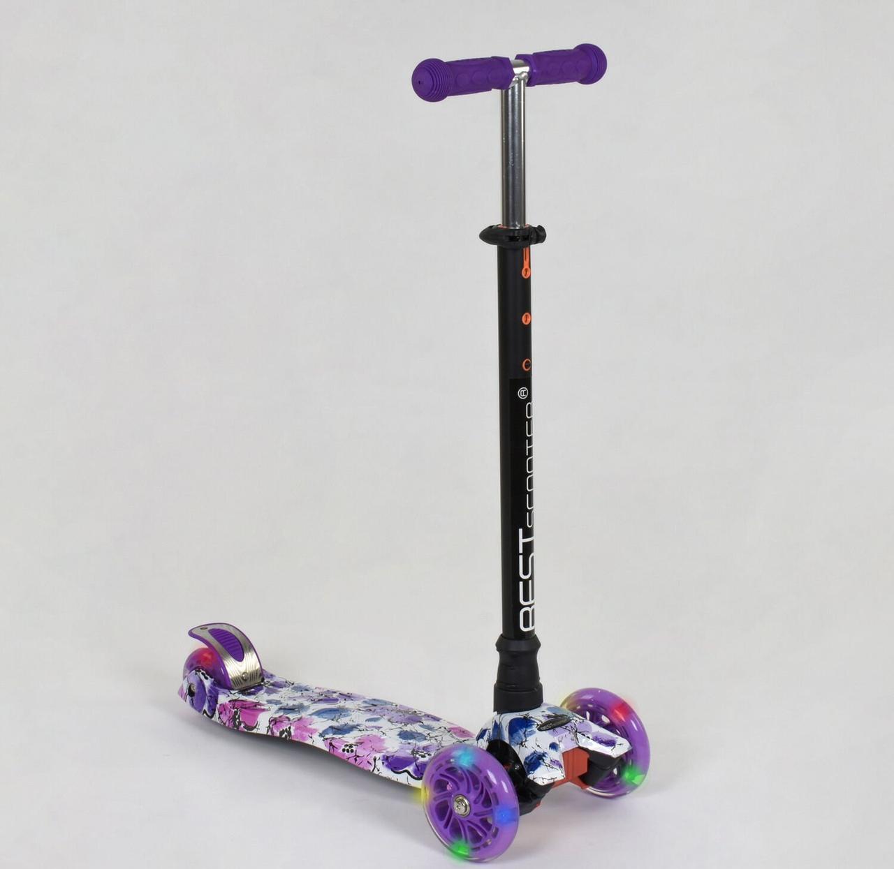 """Самокат MAXI """"Best Scooter"""" пластмассовый, 4 колеса PU, СВЕТ, d=12см, трубка руля алюминиевая фиолетовый"""