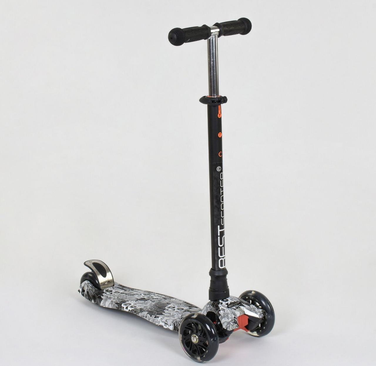 """Самокат MAXI """"Best Scooter"""" Череп  пластмассовый, 4 колеса PU, СВЕТ, d=12см, трубка руля алюминиевая, в"""