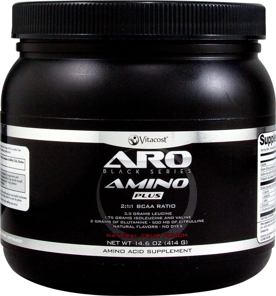 ARO-Vitacost Black Series Amino Plus - BCAA 7000 мг  Natural Fruit Punch + глютамин и цитруллин 414 гр