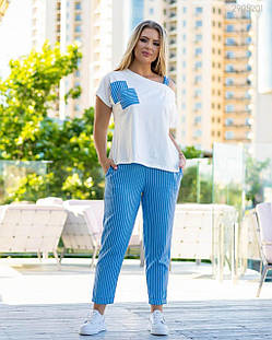 Стильный летний женский костюм -коттоновые брюки и трикотажная кофта 48-56, фото 2