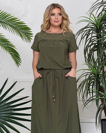 Красивое женское летнее платье-макси хаки с 50 по 58 размер, фото 2