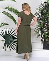 Красивое женское летнее платье-макси хаки с 50 по 58 размер, фото 3
