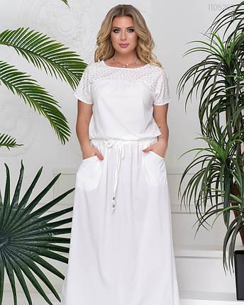 Белое летнее женское платье в пол с 50 по 58 размер, фото 2