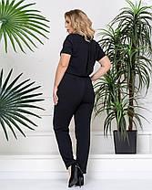 Эффектный женский комбинезон в деловом стиле чёрный с 50 по 58 размер, фото 2