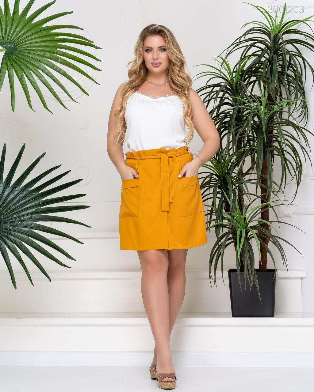Модные женские шорты-юбка из летней эко-ткани горчичного цвета  50-58
