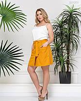 Модные женские шорты-юбка из летней эко-ткани горчичного цвета  50-58, фото 2