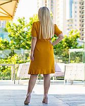 Красивое женское платье горчичного цвета 48 по 58 размер, фото 2