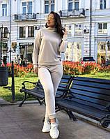 Тёплый женский вязаный спортивный  костюм бежевый с 48 по 58 размер