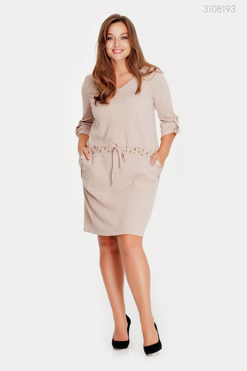 Модное женское платье из вязаного тиотажа в 3-х расцветках с 48 по 58 размер