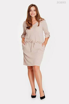 Модное женское платье из вязаного тиотажа в 3-х расцветках с 48 по 58 размер, фото 2