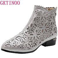 Серебристые ботинки кружевные на лето Alexika