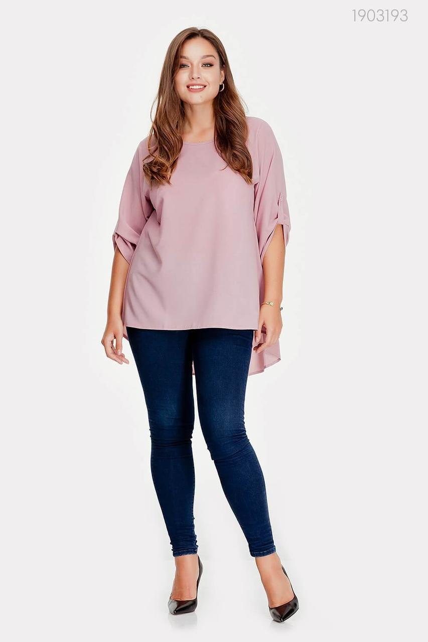 Женская шёлковая блузка с удлинённой спинкой с 48 по 54 размер
