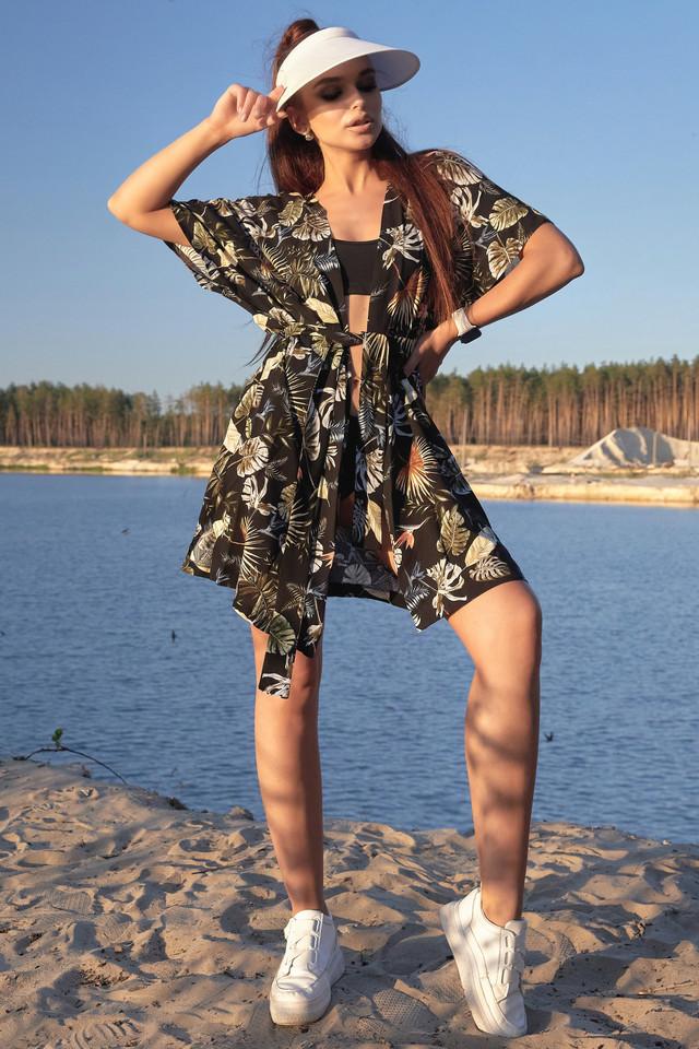 Женская пляжная туника чёрная с цветочным принтом лён