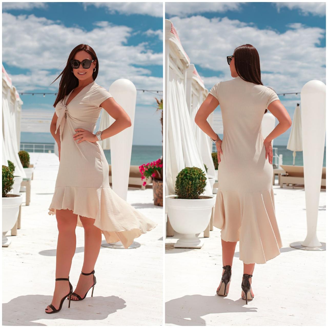 Романтичное летнее платье с ассиметричным кроем, разные цвета, р.48-50,52-54 Код 298V