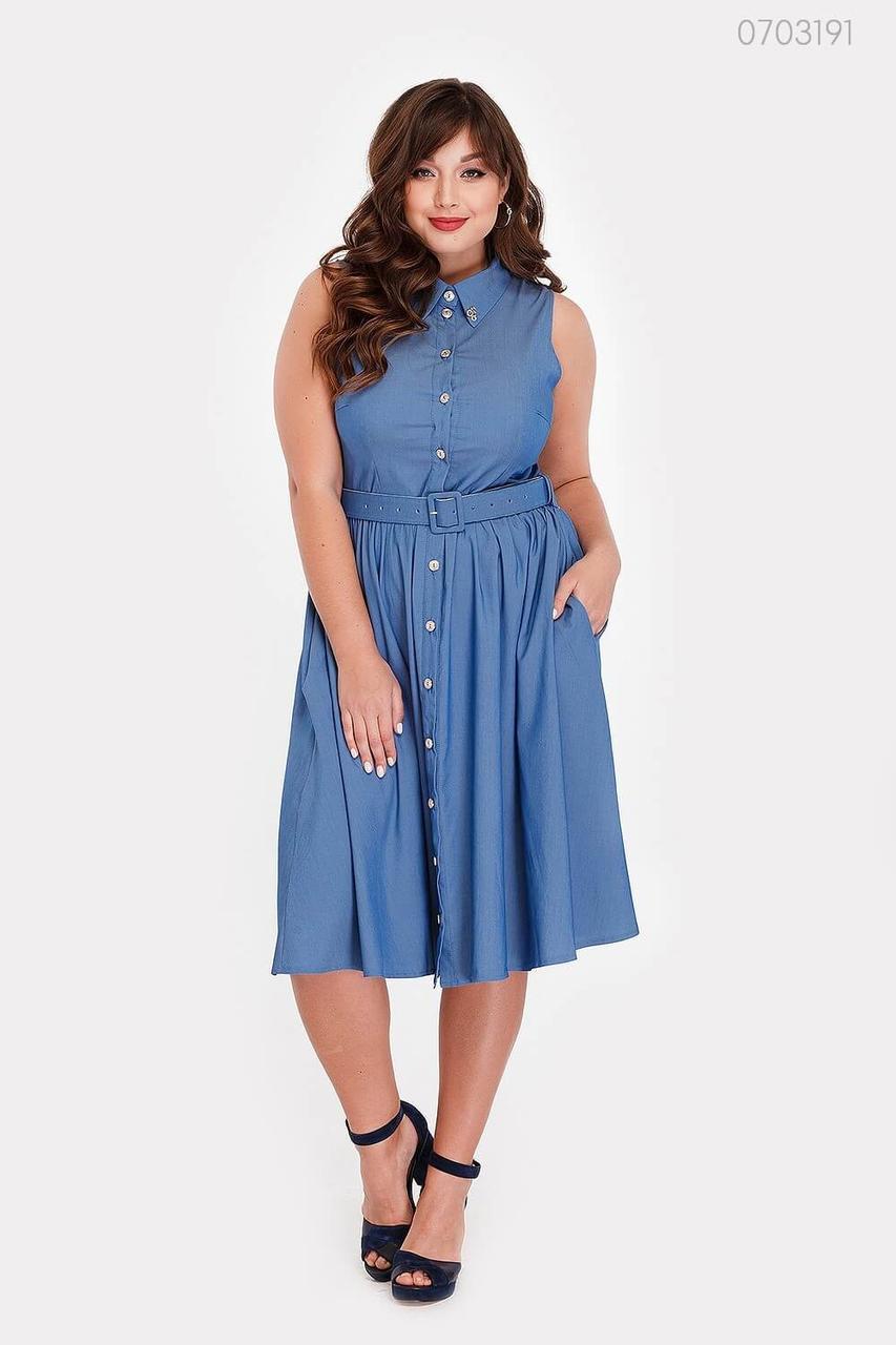 Модное женское платье из летнего голубого иджинса с 48 по 58 размер