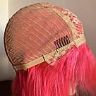 ❤️Натуральный розовый парик. Каре с ярко розовыми волосами💟, фото 5