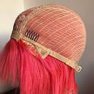 ❤️Натуральный розовый парик. Каре с ярко розовыми волосами💟, фото 8