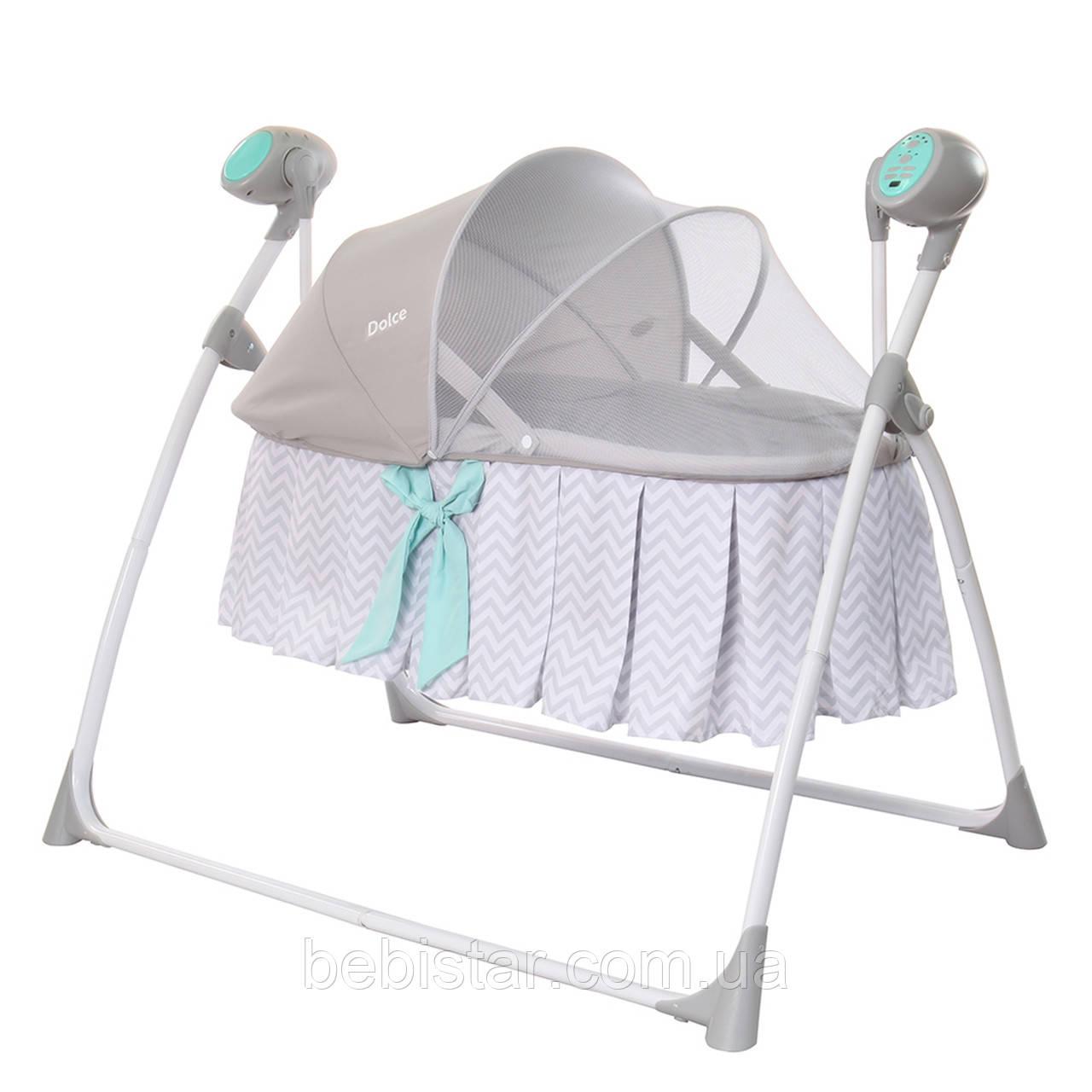 Люлька качалка колыбель серая Carrello Dolce с пультом от сети москитная сетка матрасик для новорожденных