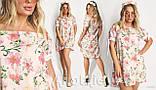 Платье свободное полукруглый низ, открытые плечи, софт, 3 цвета р.48,50,52,54 код 330V, фото 3
