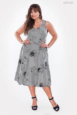 Женское летнее платье из коттона А-силуэта с поясом 48-54, фото 2