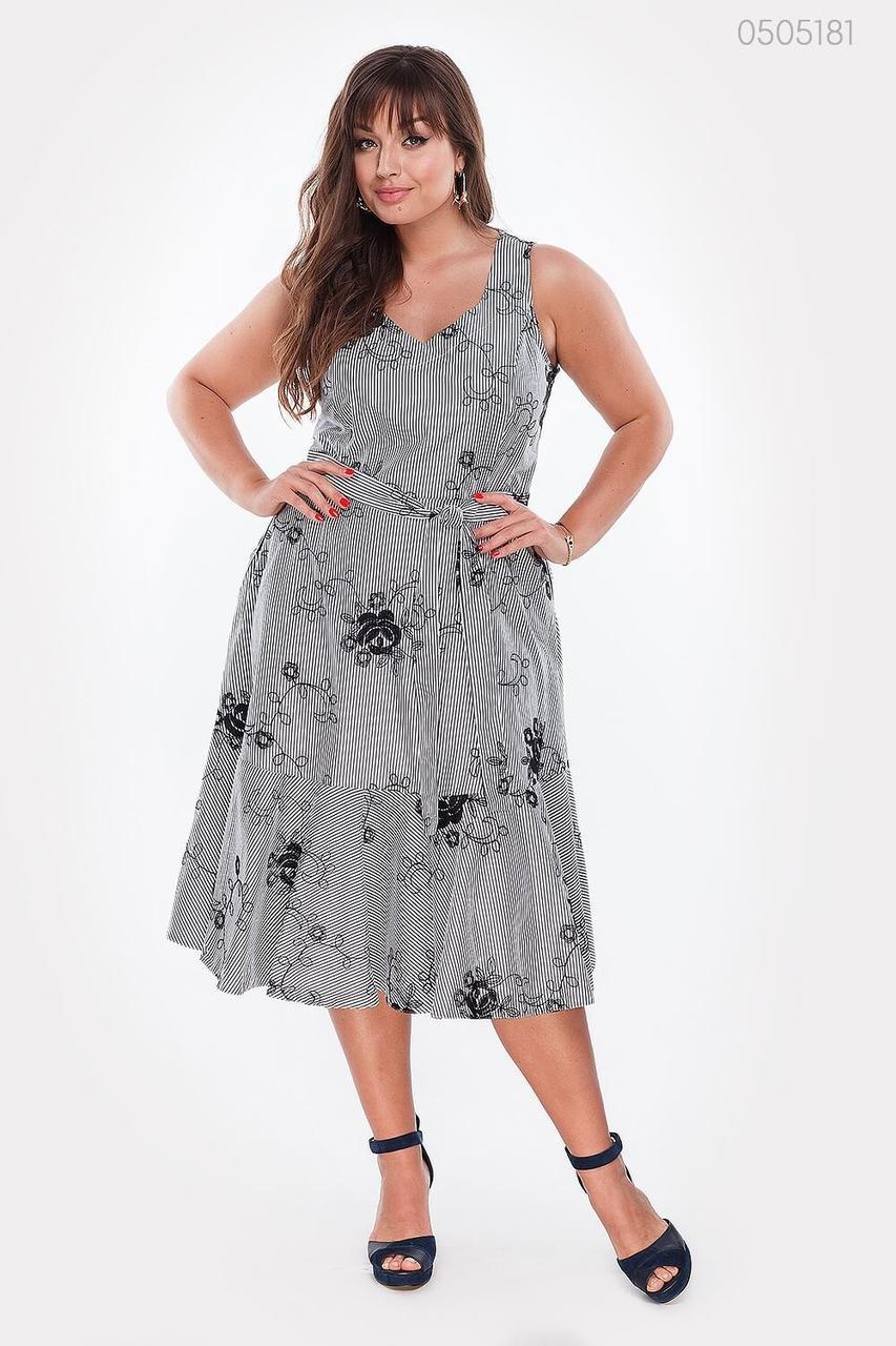 Женское летнее платье из коттона А-силуэта с поясом 48-54