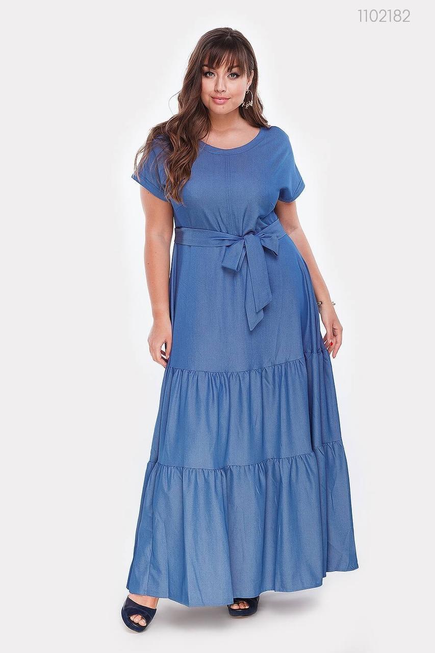 Длинное женское платье из летнего джинса с 48 по 56 рамер
