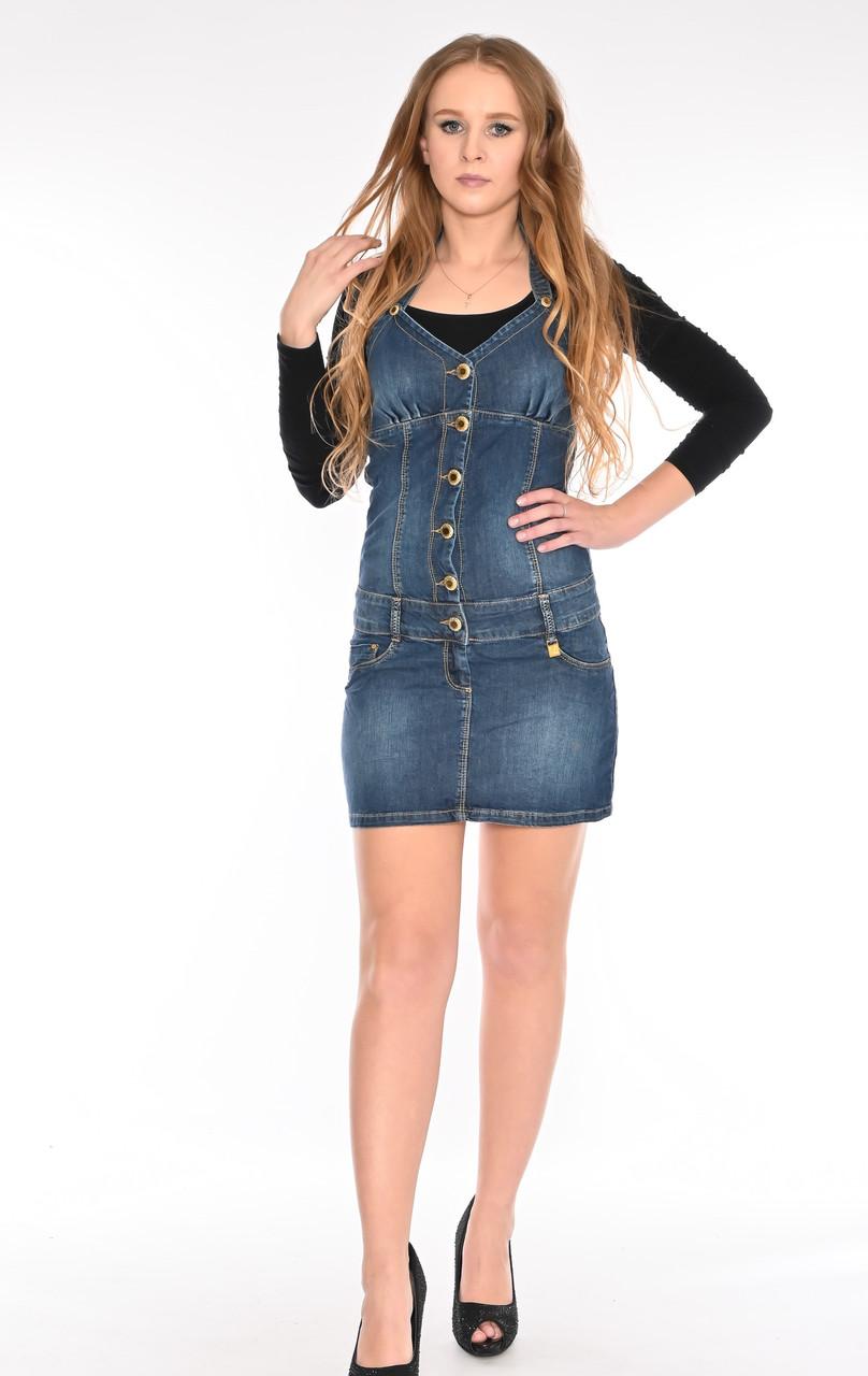 Женский джинзовый комбинезон юбка OMAT 4440 синий