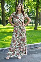 Летнее платье в пол (48-52) с коротким рукавом