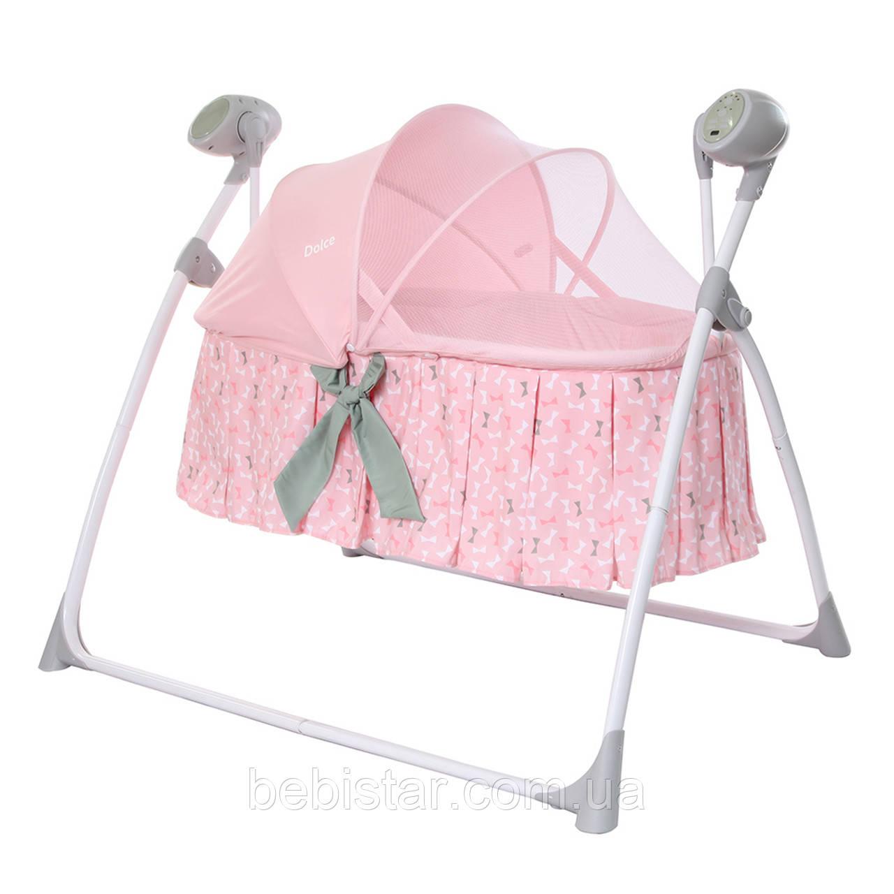Люлька гойдалка рожева Carrello Dolce з пультом матрацик москітна сітка для новонароджених