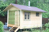 Коробка для бани 3х5 м, каркасная, 2 помещения, с большими выносами крыши