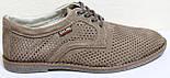 Туфлі чоловічі на шнурках літні шкіряні (нубук) від виробника модель ГЛ20, фото 8