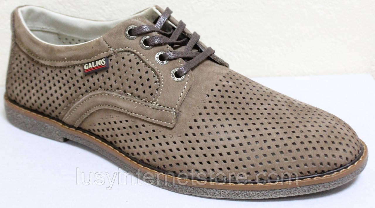 Туфлі чоловічі на шнурках літні шкіряні (нубук) від виробника модель ГЛ20