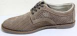 Туфлі чоловічі на шнурках літні шкіряні (нубук) від виробника модель ГЛ20, фото 3