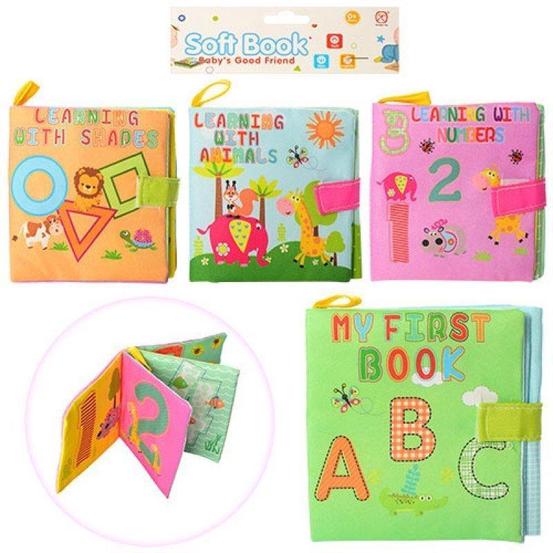 2984-1-2 Книжка для самых маленьких ткань, на липучке, 12-12см, 4вида, в кульке, 14,5-17,5-1,5см