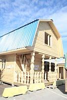 Коробка для бани 6х4 м с ломаной крышей и большими выносами и вторым жилым этажом.
