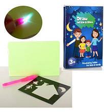C666 Игрушка Досточка  для рисования, рисуй светом, маркер-фонарик,свет,бат-таб, в кор-ке,15-22-2см