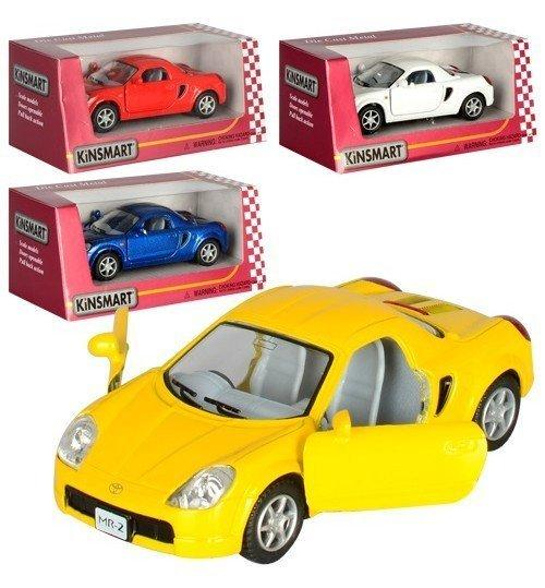 5026W Машинка жел KINSMART инер-я, 1:32 TOYOTA MR2, 4 цвета, откр.двери, в кор-ке,