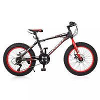 "KMS20.1 Велосипед 20 д. EB20POWER 1.0   сталь.рама 13"",Shimano 18SP,алюм.DB,алюм.обод, 20""*4.0, ч"