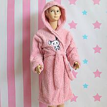 97561 Детский Халат для девочки розовый травка Турция размер 5,7,8,9,10,11 лет