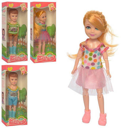081A Кукла шарнирная, 4 вида (2 вида девочка, 2 вида-мальчик), кор., 7-18-4 см., фото 2