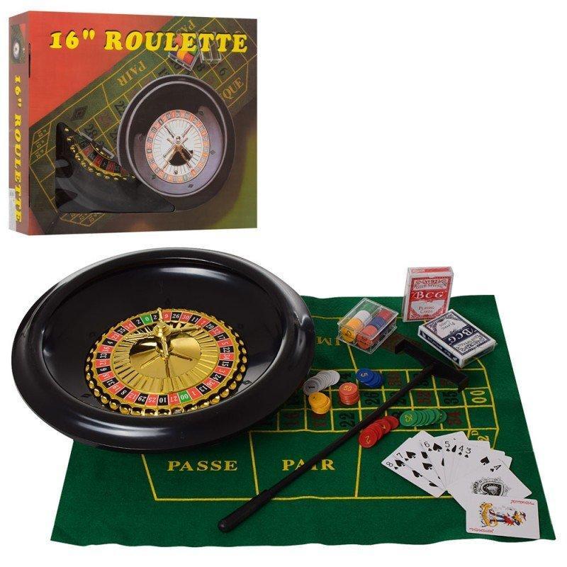 A191 Настольная игра рулетка 41см, шарик, карты 2шт, фишки, игров.поле в кор-ке, 47-41-9,5см