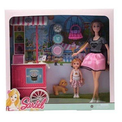 KM7726-C1 Кукла   29см кафе на колесах, дочка12см, собачка 5см,, аксесс, в кор-ке, 36,5-34-7см, фото 2