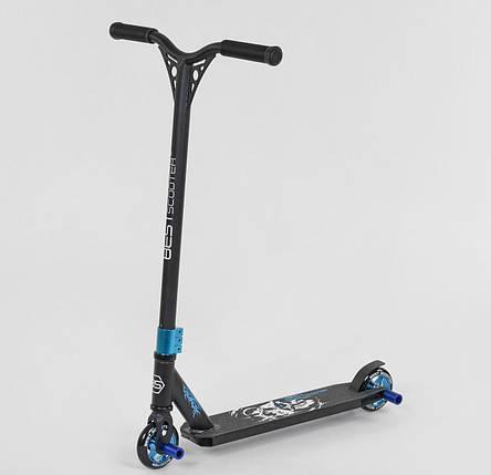 32269 Самокат трюковый Best Scooter HIC-система, ПЕГИ, алюминиевый диск и дека, колёса PU, d=10см синий, фото 2
