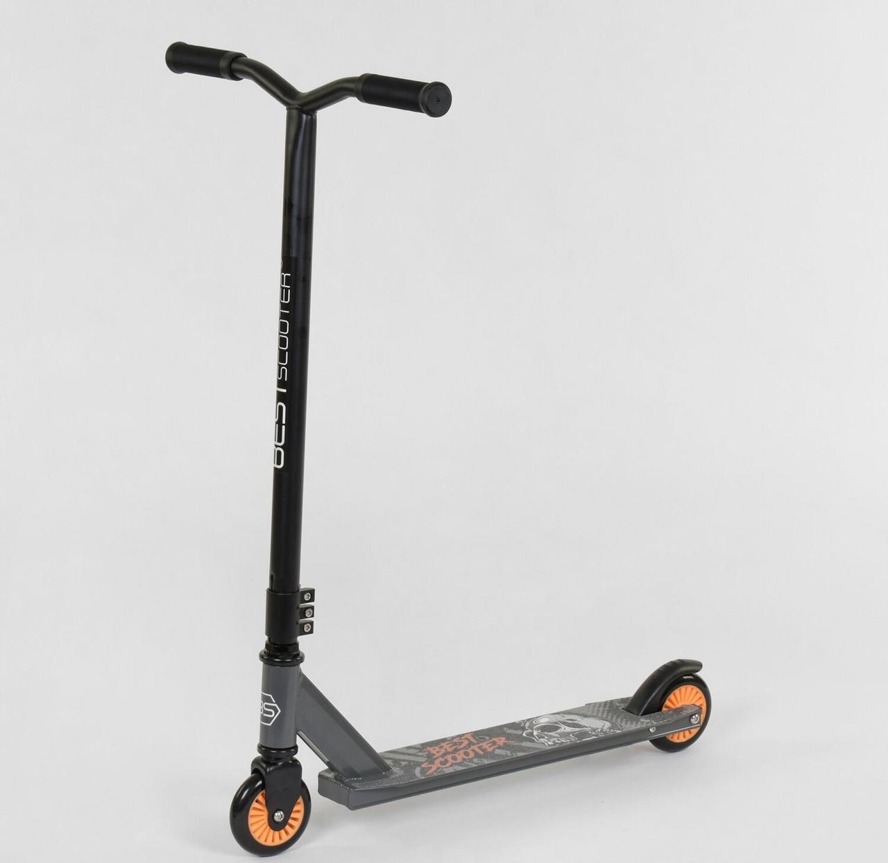 """49872 Самокат трюковый Череп  """"Best Scooter""""  пластиковый диск, колёса PU, d=10см"""