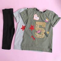 18326 Летний детский костюм девочке футболка бриджи размер 5-6-7 лет